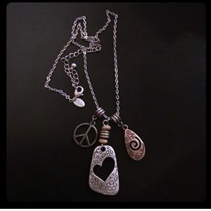 Fun Heart & Peace Sign whimsical Necklace